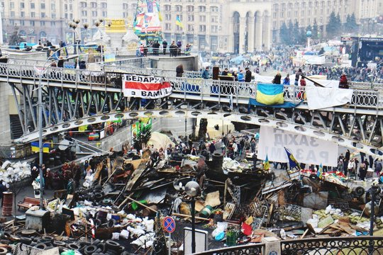High Angle View Of Maidan Nezalezhnosti After Riots