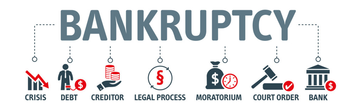 Bankruptcy Concept - vector icons on white background