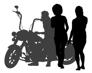 Fototapete - Beauty women on sports motorcycle. Isolated silhouette on a white background