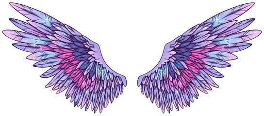 Beautiful magic colorful glowing angelic violet purple vector wings