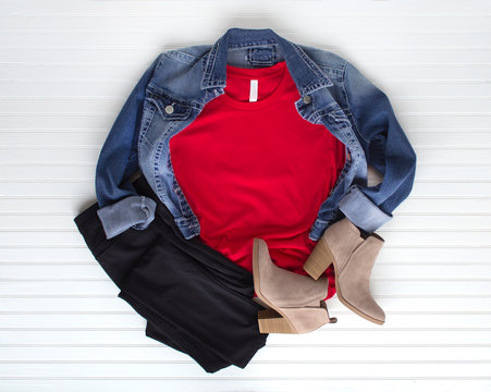 Red tee mockup - cold weather fall tshirt with cotton balls, boots & jeans