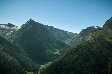 Wall Mural - Beautiful view on Swiss Alps from Hannig above the Saas-Fee