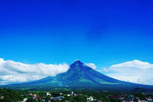 Mayon Volcano Against Blue Sky