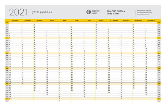 Calendar yearly planner template for 2021. Printable template. Week starts on Sunday