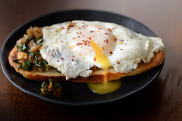 Fried egg on a toast