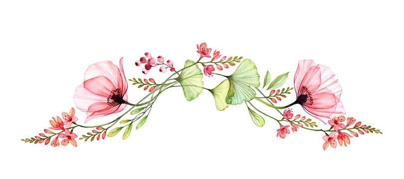 Watercolor floral border. Long horizontal design element in arch shape. Two big poppy flowers with exotic fresia and gingko isolated on white. Botanical illustration for cards, wedding design