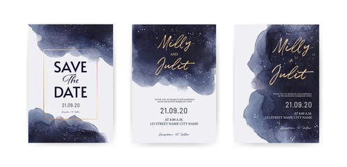 Set of royal-blue Watercolor style Wedding cards, invitation template. Starry night with drops of stars.