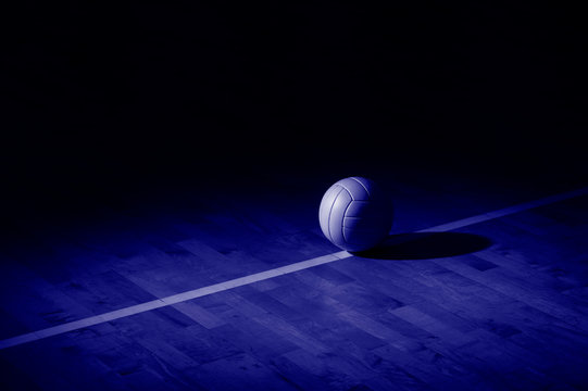 Volleyball court wooden floor with ball on black with copy-space. Phantom color trend 2020. Banner Art concept