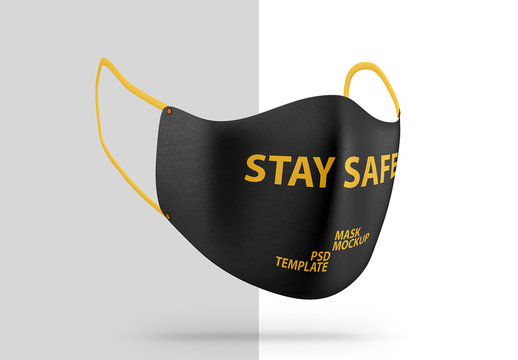 Angled View Face Protection Mask Mockup