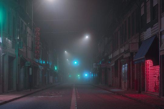 Empty foggy street