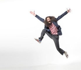 Photo sur Plexiglas Artiste KB Portrait of an odd jumping man