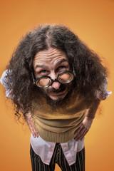 Foto op Plexiglas Artist KB Closeup portrait of a weird, skinny nerd