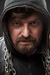 Deurstickers Artist KB Closeup portrait of a dangerous criminal