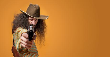 Deurstickers Artist KB Portrait of a skinny Texas sheriff