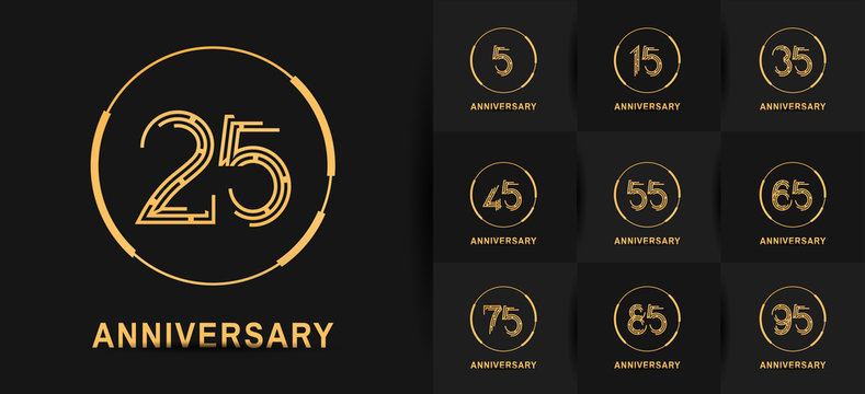 Anniversary logotype set with golden color. vector design for celebration purpose, greeting, invitation card