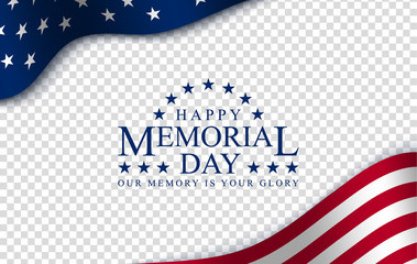 Memorial day with, vector image, poster and banner for the holiday and sales day. American flag on the background of a wooden board with the inscription. Fotomurales