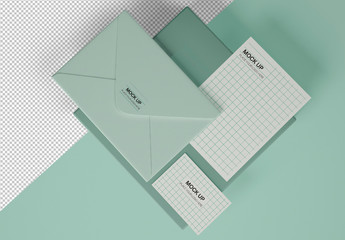 Stationery Mockup with Business Card, Envelope and Postcard