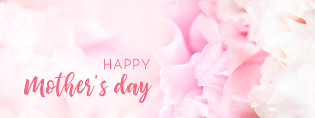 Banner for website with closeup view of pink eustoma flower. Happy Mother's Day. Fototapete