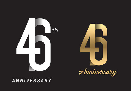 46 years anniversary celebration logo design. Anniversary logo Paper cut letter and elegance golden color isolated on black background