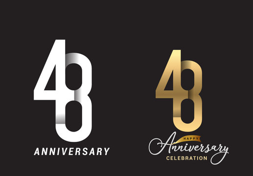 48 years anniversary celebration logo design. Anniversary logo Paper cut letter and elegance golden color isolated on black background