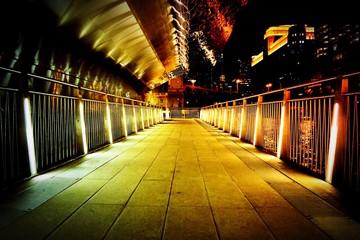 Papiers peints Affiche vintage Illuminated Footpath At Night
