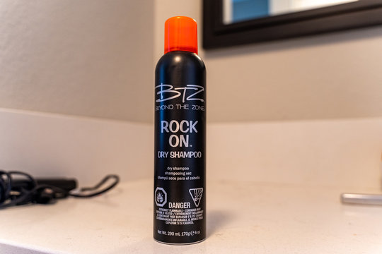 Maple Grove, Minnesota - April 15, 2020: BTZ (Beyond the Zone) brand Rock On Dry Shanmpoo sits on a bathroom counter. This beauty hair care product keeps hair fresh