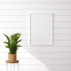 Wall Mural - Hampton style living room interior with frame mockup, 3d render