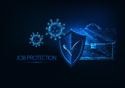 Futuristic Job protection during coronavirus pandemic with glowing low polygonal suitcase, shield