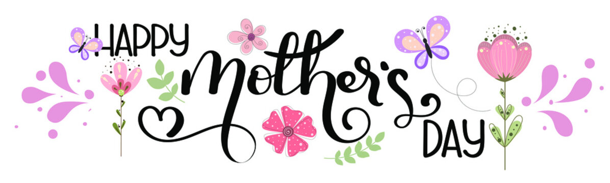 Celebration Happy Mother's Day Calligraphy vector with flowers and leaves. Greeting Card vector. Illustration Mother's day