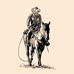 Fototapeta American cowboy riding horse and throwing lasso.  obraz