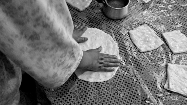 Midsection Of Person Making Bread