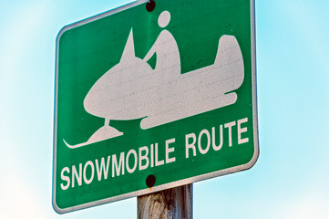 Snowmobile Route sign Wall mural