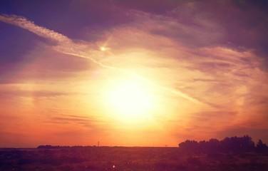 Deurstickers Bordeaux Silhouette Landscape At Sunset