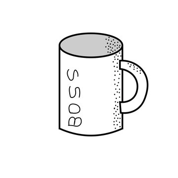 Boss cup outline icon. linear style sign for mobile concept and web design. Hot drink mug simple line vector icon. Symbol, logo illustration. Doodle style.
