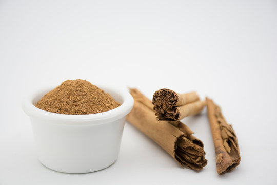 Chunks of Cinnamon spice - Cinnamomum verum.