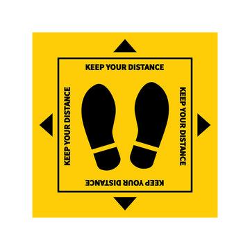 Social distancing. Footprint sign. Keep the 1-2 meter distance. Coronovirus epidemic protective. Vector illustration