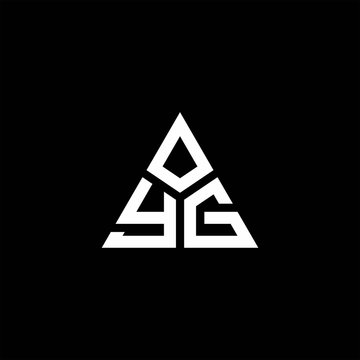 YG monogram logo with 3 pieces shape isolated on triangle