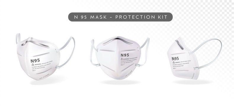 Realistic N-95 Mask in different angles Illustration