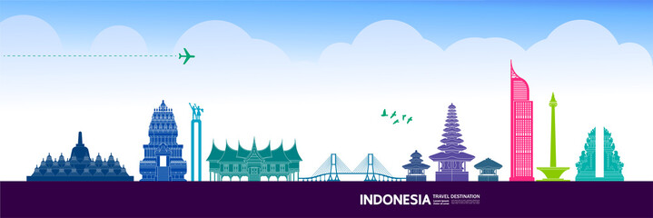 Fotomurales - Indonesia travel destination grand vector illustration.