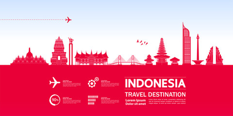 Fototapete - Indonesia travel destination grand vector illustration.