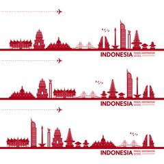 Wall Mural - Indonesia travel destination grand vector illustration.