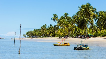 Foto op Plexiglas Caraïben Boats Moored At Beach