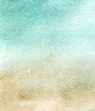 Abstract watercolor background on textured paper. Hand drawn gradient illustration of pastel shades. Soft turquoise color transfers to beige. Blurred image of blue cloudy sky and sand