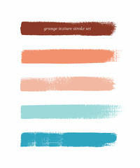 Colorful vintage art brush paint texture stripes set isolated vector background. Watercolor beautiful strokes set.