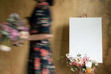 Canvas and flowers