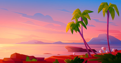 Sunset or sunrise on beach, tropical landscape with palm trees and beautiful flowers on seaside under pink cloudy sky. Evening or morning idyllic paradise, island in ocean, Cartoon vector illustration Fototapete