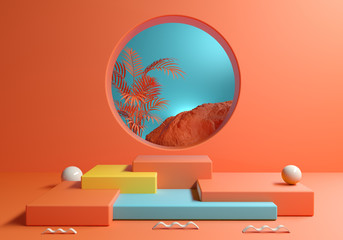 Orange Colorful Abstract Podium Step Box With Tropical Scene Background 3d Render