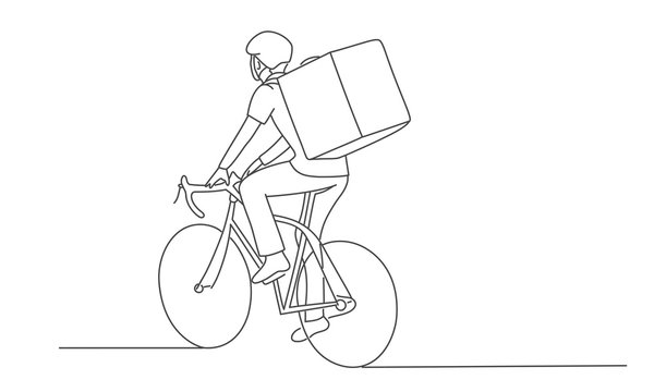 Line drawing vector illustration of delivery man on the bike.