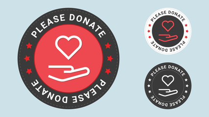 Please Donate stamp vector illustration. Donate Love. Vector certificate icon. Vector combination for certificate in flat style.
