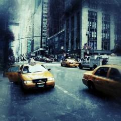 Fototapeta Yellow Taxis On City Street